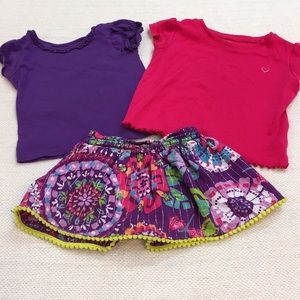 The Children's Place pattern skirt & 2 t-shirts